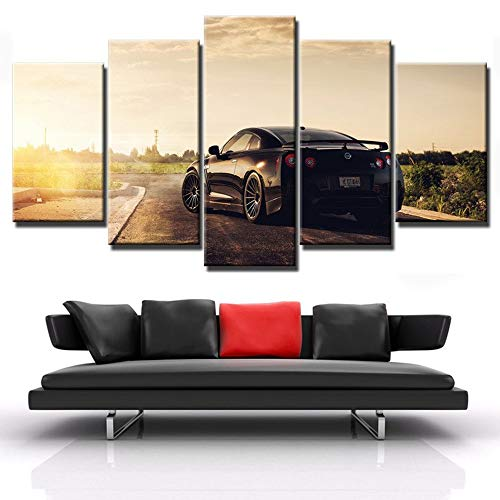 ZQDMYB Canvas Poster HD Stampato Wall Art Pictures Camera Frame 5 Pezzi Flashy Nissan GTR Sports Car Pittura Modern Home Decor PENGDA-, 30x50 30x70 30x80cm