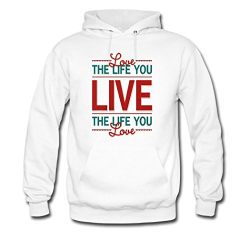 HKdiy live the life you love Custom Men's Printed Hoodie White-2