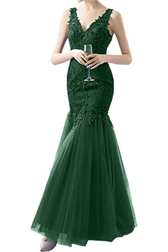 Victory Bridal 2017 Neu Glamour Royal Blau Spitze Abendkleider Partykleider Promkleider Figurbetont Lang Dunkel Gruen