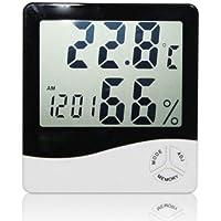 elegantstunning Temperatur- und Feuchtigkeitsmesser LCD Display mit Wecker Hygrometer