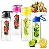 Voberry 800 Milliliter Pink Fruit Infusing Water Bottle with Fruit Infuser and Flip Lid Lemon Juice Make Bottle Bild