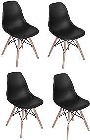 Vogue Dining Chairs, H 107 x W 42 x D 56 cm, Set Of 4, Beige/Black, RICOV1