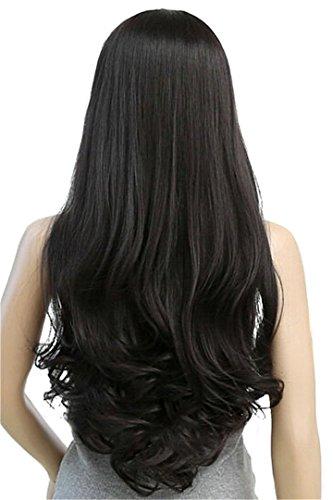 kel Braun Schwarz 75 cm Frauen Perücken Cosplay's Lady Hitzebeständige synthetische vollständige Haar natürlich Schwarz, 30 Zoll (Männliche Halloween Kostüme Lange Haare)
