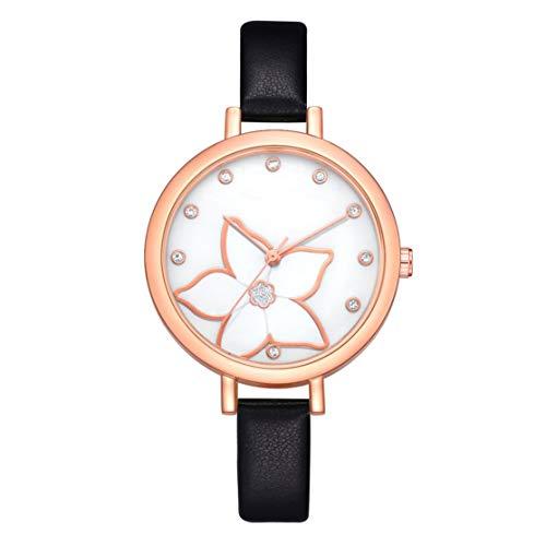 1430ea5ef505 LouiseEvel215 Patrón de Flores Relojes de Pulsera de Cuarzo Mujeres Horas  de la Moda Simple Reloj Mujer Cinturón de Cuero Mujer Relojes de Diamantes  de ...
