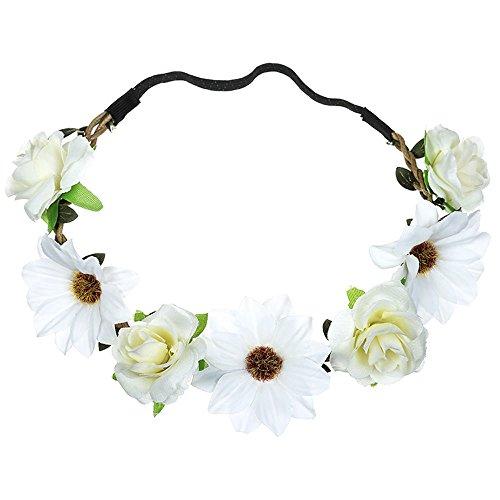 MIRRAY Boho Damen Blumen Blumen Festival Hochzeit Haarschmuck Girlande Haar Kopf Band Beach Party Weiß