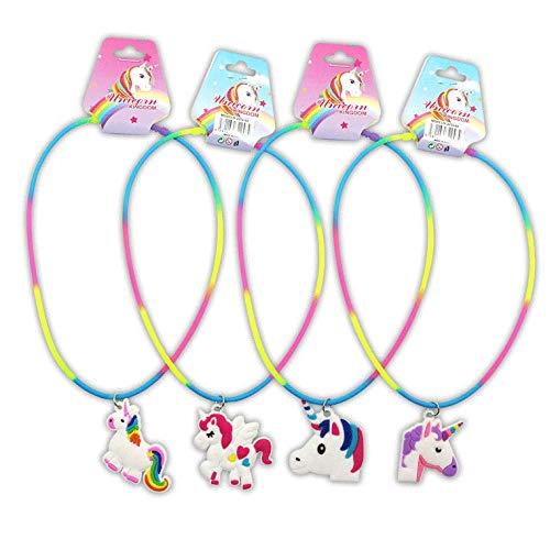 DISOK - Lote 24 Collares Unicornio para Las niñas. Regalos de bisutería para comuniones, cumpleaños y Party. Collares económicos.
