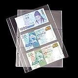 Global Brands Online Hojas extraíbles Transparentes de PVC de 10pcs para el álbum de Billetes de Banco de álbum de Collection de Plata