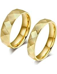 Bishilin pareja precio Anillos de Acero Inoxidable Hombres Mujeres con AAA Zirconia Blanco Geometría Anillo de Compromiso Anillos de Bodas de Oro