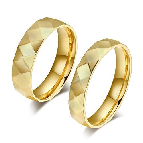 Bishiling Edelstahl Paare Ring Edelstahlring mit AAA Weiß Zirkonia Geometrie Verlobungsring Gold Ringe Demen Größe 57 (18.1)&Herren Größe 65 (20.7) (Paare Kostüme Diy)