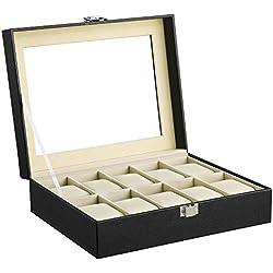 SONGMICS Présentoir Coffret Boîte à montre 10 montres JWB010