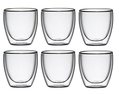Klasique Doppelwandige Gläser/Doppelwandglas 100 ml, Thermoglas mit Schwebeeffekt im 6er Set, für Espresso, Tee, Eistee, Säfte, Wasser, Cola, Cocktails geeignet