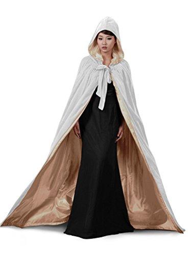 Weiß mittelalter Hochzeit Braut Umhang mit Kapuze für Herren Damen Kind Kundengröße (white-gold, 2XL)