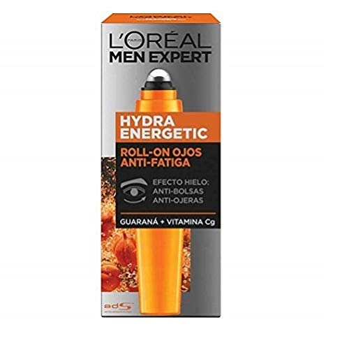L'Oréal Paris Men Expert Hydra Energetic Roll-on de Ojos Efecto Hielo, Anti Bolsas y Ojeras, 10 ml