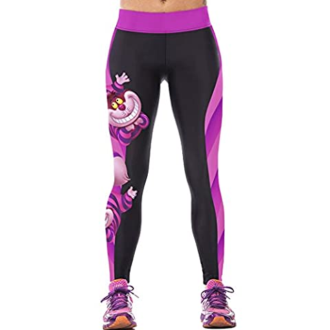 Sasairy Damen Gym Leggings Sports Comic Cartoon Aufdruck Elastisches Hüftband