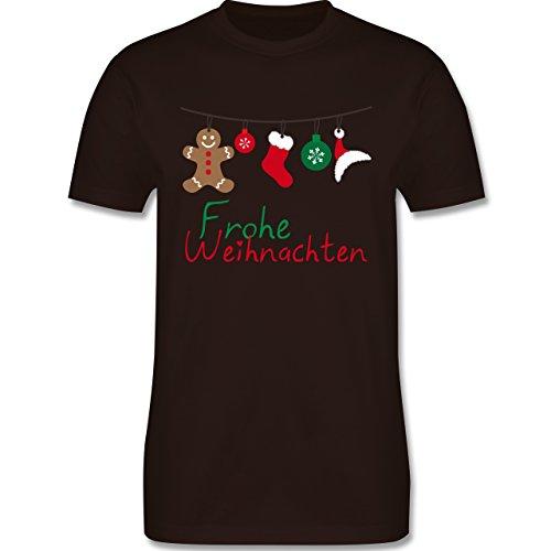 Weihnachten & Silvester - Frohe Weihnachten Girlande - Herren Premium T-Shirt Braun