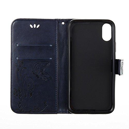 Horizontale Folio Flip Stand Muster PU Leder Geldbörse Tasche Tasche mit geprägten Blumen & Lanyard & Card Slots für iPhone X ( Color : Black ) Darkblue