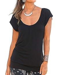f411e6086ab489 Uniquestyle Damen Sommer T-Shirt Kurzarmshirt V-Ausschnitt Lässige Stretch  Falten Bluse Tops Oberteil Baumwollshirt…