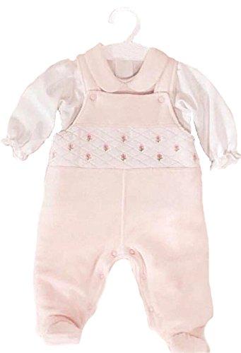 Alpacaandmore rosa Mädchen Baby Set Träger Baumwoll Flanell Strampler Strampelhose und weiße Bluse 100% ökologische Pima Baumwolle 0-12 Monate (68) (Lg Flanell)