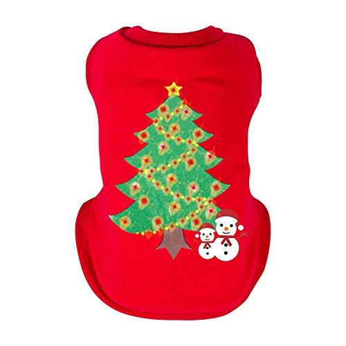 Oneisall Hundepullover Weihnachtsbaum Drucken Haustiere leuchtete Mantel Winter Jacken Weihnachten festliche (Kostüme Weihnachtsbaum Wenig)