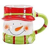 Todaytop 3D Kaffeebecher aus Keramik Weihnachten Becher mit Henkel 380mL Weihnachtsmann/Schneemann /Pinguin/AFFE Design Kaffeetasse Teetasse Milch Wasser Getränk Tasse Geschenk,Schneemann