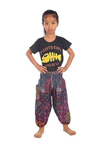 Lofbaz Baby Hippie Harem Kind Retro Bunte Pfau Boho Hose Rosa Größe 0-3M (4t Harem Hose)