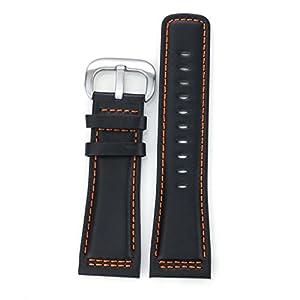 28 mm de gama alta robustos cuero Negro Correas de Reloj sustitutos de los hombres de lujo suiza pulsera hecha a mano del contraste de costura Naranja marca AUTULET