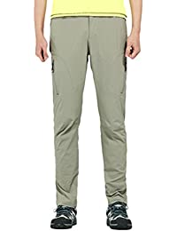 Zhuhaitf Hombre Multi-pockets Quick Dry Walking Trousers Running Trousers UV Protection Side-Elastic Cargo Pants