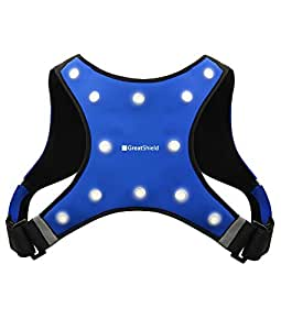 GreatShield Sport LED Safety Vest - GLO [étanche | 3 Way LED Lighting] Sports de plein air Vest avec 2 poches avant pour Smartphones, iPod, argent, clés et autres (Bleu)