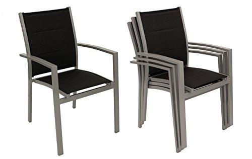 DEGAMO 4X Stapelsessel Rivera, Aluminium + Textilgewebe schwarz gepolstert, wetterfest