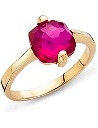 Miore Damen-Ring 9 Karat ( 375 ) Gelbgold Granat Stein 3.0 ct. Quarz rot Quadratschliff - MNA9030