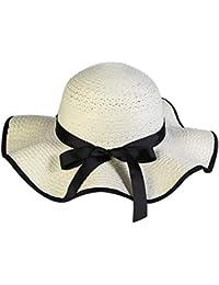 JERKKY Donna Estate Paglia Tessuto Floppy Beach Cappello da Sole Contrast  Colour Trim Nastro Lungo Bowknot 863b627c43e4