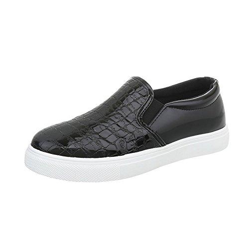 Ital-Design Sneakers Low Damen-Schuhe Sneakers Low Moderne Freizeitschuhe Schwarz, Gr 38, D17-