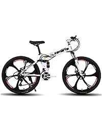 MoMi Bicicleta de montaña Plegable con Rueda de 6 Cuchillas 24/26 Pulgadas de Acero de Alto Carbono 24/27/30 Velocidad de Freno de Disco Velocidad Bicicleta Masculina y Femenina