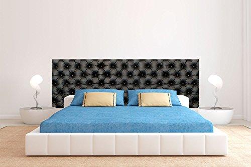 Tête de lit PVC Impression numérique Motif Imitation Capitonnée Noire Sans Relief | De 200 x 60 cm | Cadre de lit léger, élégant, résistant et économique