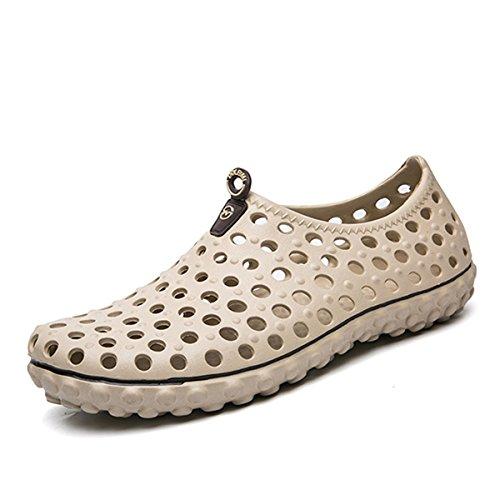 Strand Schuhe, Tezoo Sommer Sandale Classic mit Massage-Sohle Rutschfest Super Weich Wasser Durchlässig Netz Löcher Clogs Pantoletten Schuh für Garten Outdoor Sport Spazieren Wandern Khaki