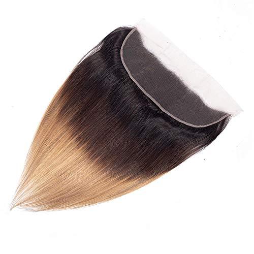 Whhhherr Ombre Jungfrau-Haar gerade mit Spitze-Schließung - Braun 3 Töne färben Haar-Verlängerungs-Webart-Schuss-Mode (Farbe : Braun, Size : 18 inch) (Volle Spitze Menschliches Haar Verlängerung)
