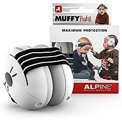 Alpine Baby Muffy Bouchon d'oreille pour enfant - pour enafant et tout-petits jusqu'à 36 mois - Protection auditive enfant- Améliore le sommeil pendant les déplacements - Confortable - Noir
