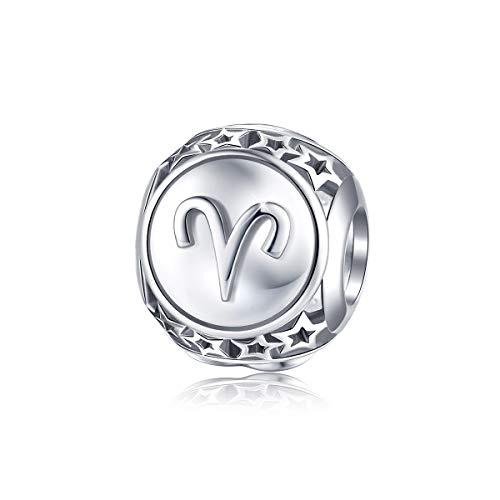 FOREVER QUEEN 12 Konstellationen Serie Damen Bead Charms 925 Sterling Silber Platin Sternzeichen Perlen Anhänger für Halskette für Charms Armband Nickelfrei BJ09025