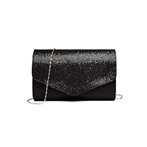 16ba7f79f4aea Miss Lulu Glitzer Clutch Bag Elegante Kettentasche Damen Tasche Handtasche  Hochzeit Abendtasche Umhängetasche glitzernd (LH1801