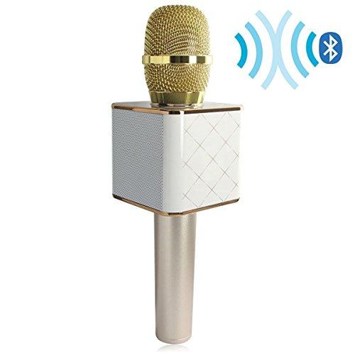 Datenschutzerklärung Drahtloses Handmikrofon Beweglicher KTV Karaoke-Stereowecker Bluetooth für intelligente Telefone iphone / ipad Computer mit Mic-Lautsprecher-Gold-USB-Wiedergabe