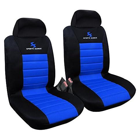 WOLTU Housse de siège voiture universelle Auto housse polyester housses pour siège,siège housse,couvre siège Noir Bleu (AS7256-2)