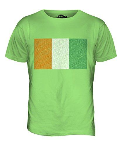 CandyMix Elfenbeinküste Kritzelte Flagge Herren T Shirt Limettengrün