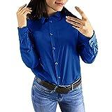 Kltipeng Mode Frauen Casual Reverskragen Solid Langarm Button Shirt Bluse Tops(EU-36/CN-M,Blau)