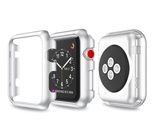 samLIKE Ultra-Slim Electroplate PC Schutzhülle für Apple Watch Series 3 38mm (Silber)