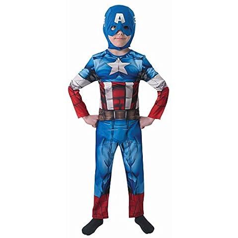 Costume Captain America super-héros déguisement Deluxe pour enfant L 8-10 ans 128-140 cm Tenue pour garçon héros de BD Marvel Avengers déguisement de vengeurs Amérique costume de héros déguisement de carnaval pour enfant