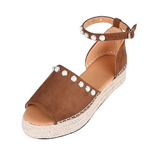 Vertvie Damen Sandalen Sommer Elegant Espadrille-Sandalen Flach Peep Toe Bequeme Plateauschuhe knöchelriemen high Heel 6-8 cm (38 EU, Brown 3) - Pu High Heel