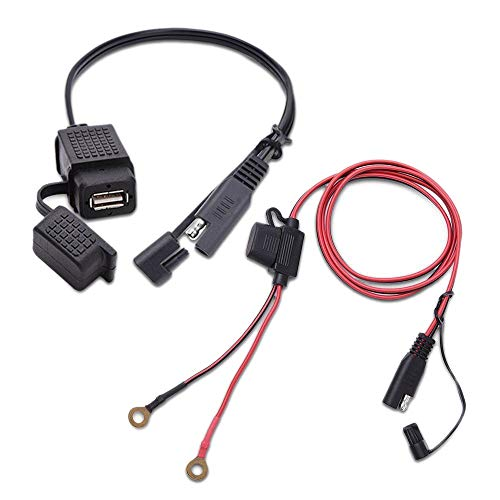 REFURBISHHOUSE 360 Grad Schwenk Halterung Für SAE zu USB Kabel Adapter Ladeger?t Schnell 2.1A Schnell Kupplung Dual USB Lade Anschluss Für 12-24 V Motorrad Roller -