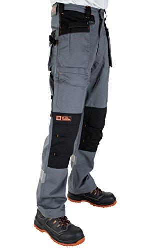 Black Hammer Arbeitshose Multi-Taschen Cargohose für schweren Gebrauch Arbeitskleidung Cordura genäht, um besonders belastete Stellen zu schützen mit Taschen für KnieschonerW30 x L32/ 81cm