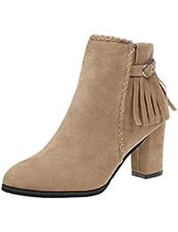 Zapatos de mujer Botines cortos para mujer Zapatos de mujer tacones altos Moda Otoño Invierno Punta puntiaguda Talón cuadrado Martín Botas LMMVP