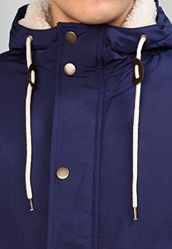 YOURTURN Herren Übergangsjacke in Schwarz, Oliv oder Blau - leicht gefütterte Jacke mit Teddyfell - Parka mit Kapuze und Innentasche mit Kunstlederdetails in kurz für Herbst, Winter und Frühjahr Blau